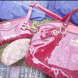 Amazing COACH red patent leather bag and wallet